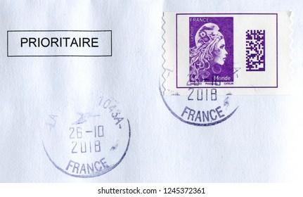 GOMEL, BELARUS, 14 DECEMBER 2017, Stamp printed in France shows image of the French embodiment of liberte and fraternite, circa 2018.