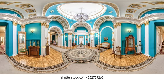 Gomel, Belarus - 15 june, 2015: interiors of Rumyantsev-Paskevich Palace In Gomel. Sunny Day With Blue Sky. Famous Landmark. 360 panorama