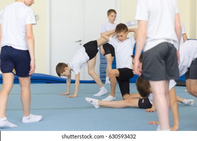 GOMEL, BELARUS - 22 April 2017: Freestyle competitions among young men and women in 2004-2006. In the program trampoline and gymnastic path.