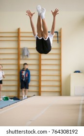 GOMEL, BELARUS - 25 November 2017: Freestyle competitions among young men and women in 2005-2007. In the program, trampoline and gymnastic path