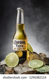 Gomel, Belarus - 26 January 2019. Corona Extra is a pale lager produced by Cervecer?a Modelo in Mexico for domestic distribution and export to all other countrie.
