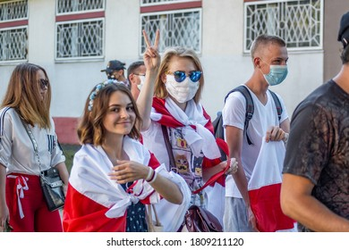 Gomel, Belarus, 30.08.20: Peaceful protests in Belarus. Presidential elections in Belarus 2020. The girl shows the victory hand