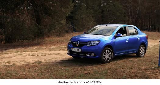 GOMEL, BELARUS - 8 April 2017: Car Renault Logan blue parked in a pine forest.