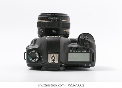 GOMEL, BELARUS - 9 November 2017: digital camera CANON MARK 2 with lens