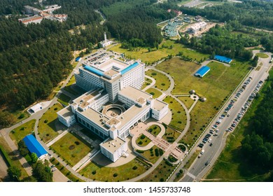 Gomel, Belarus. Aerial View OF Building Of Republican Scientific Center For Radiation Medicine And Human Ecology In Summer Sunny Day. Top View. Drone View. Bird's Eye View.