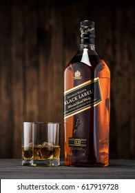 Gomel. Belarus. - April 04.2017. Johnnie Walker is a brand of Scotch whisky owned by Diageo that originated in Kilmarnock, Ayrshire, Scotland.