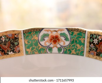 GOMEL, BELARUS - APRIL 23, 2020: The Japanese porcelain (Imari, Arita). Porcelain (also known as china or fine china) is a ceramic material made by heating materials.
