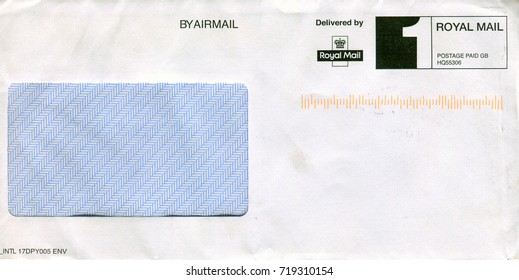 GOMEL, BELARUS - AUGUST 12, 2017: Old envelope which was dispatched from England to Gomel, Belarus, August 12, 2017.