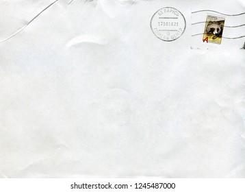 GOMEL, BELARUS - AUGUST 12, 2018: Old envelope which was dispatched from Belarus to Gomel, Belarus, August 12, 2018.
