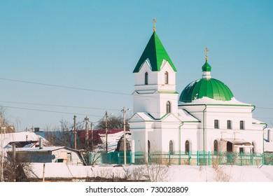Gomel, Belarus. Church Of St Nicholas The Wonderworker In Sunny Winter Day. Orthodox Church Of St. Nikolay Chudotvorets.