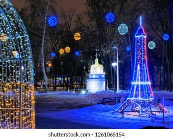GOMEL, BELARUS - DECEMBER 17, 2018: a city street in the New Year's night illumination.