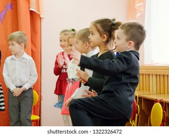 GOMEL, BELARUS - FEBRUARY 22, 2019: Matinee in kindergarten dedicated to the Day of the Soviet Army.