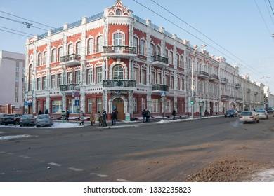 GOMEL, BELARUS - JANUARY 06, 2016: Central street of Gomel city in Christmas in Gomel, Belarus.