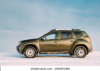 Gomel, Belarus - January 10, 2019: Car Renault Duster Or Dacia Duster Suv Parked On Roadside At Winter Day. Duster Produced Jointly By French Manufacturer Renault And Its Romanian Subsidiary Dacia