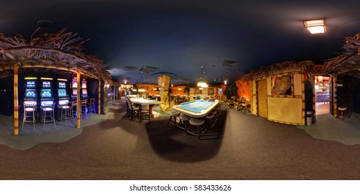 GOMEL , BELARUS - JANUARY 11, 2011: Inside of the bar interior of luxury stylish casino Admiral in marine style. Full 360 degree panorama in equirectangular spherical projection