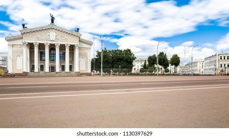 Gomel, Belarus - July 9, 2018: Building Of Gomel Regional Drama Theatre On The Lenin Square. Panorama In Sunny Summer In Gomel, Belarus.