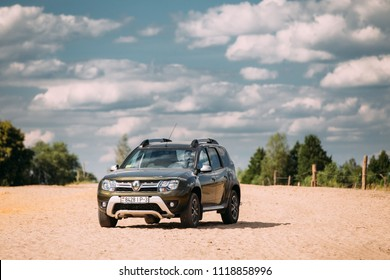 Gomel, Belarus - June 13, 2018: Renault Duster or Dacia Duster SUV in countryside landscape. Duster produced jointly by French manufacturer Renault and its Romanian subsidiary Dacia since 2010.