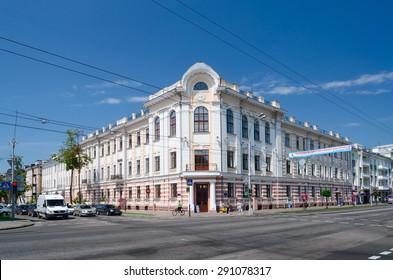 GOMEL, BELARUS - JUNE 25, 2015:  Project of architect S.D.Shabunevsky. Former Orlovsky Commercial Bank (1903), street Rumiantsevskaya. Now - administrative building on Sovetskaya street, 28