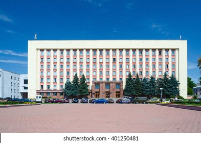 GOMEL, BELARUS - JUNE 25, 2015: Unidentified people come out of the Gomel State Medical University, Belarus