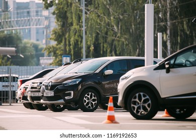 Gomel, Belarus - June 31, 2018: Different Renault Cars parking in row outdoors. Subcompact Crossovers Produced Jointly By Renault–Nissan Alliance.