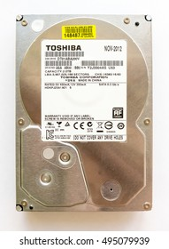GOMEL, BELARUS - JUNY 24, 2016: 2TB HDD Toshiba DT01ABA200V. Toshiba Corporation is a Japanese multinational conglomerate corporation headquartered in Tokyo, Japan.