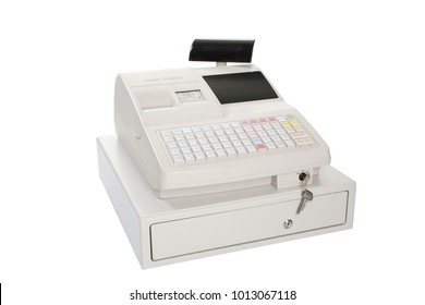 GOMEL, BELARUS - March 27, 2013: Cash register of NTS Gomel company on a white background