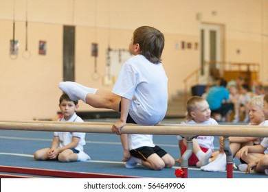 Gomel, Belarus - MAY 21, 2012: The competition among the boys in 2006 - 2007 in gymnastics. Discipline - general physical training and stretching