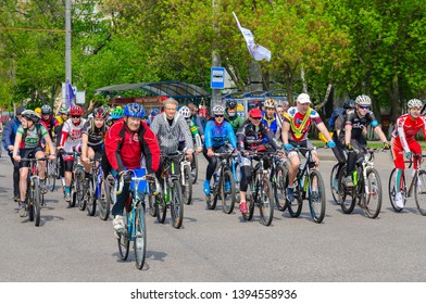 GOMEL, BELARUS - MAY 5, 2019: Mass spring bike ride with participation of athletes and cycling enthusiasts dedicated to opening of cycling season 2019, Gomel, Belarus