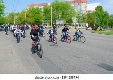 GOMEL, BELARUS - MAY 5, 2019: Participants of mass spring bike ride, dedicated to opening of bike season-2019, move along city street, Gomel, Belarus