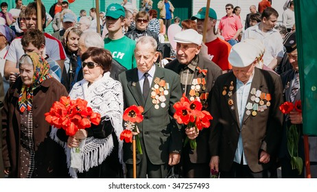 GOMEL, BELARUS - MAY 9, 2011: Unidentified veterans during celebration of Victory Day