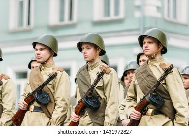 Gomel, Belarus - May 9, 2017: Group Of Re-enactos Dressed As Russian Soviet Red Army Soldiers Of World War Taking Part In Parade During Celebration Of Victory Day 9 May.