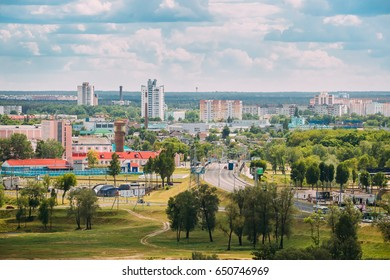 Gomel, Belarus - May 9, 2017: Aerial View Of Cityscape And Architecture Of Novobelitsky District. View On JSC The Gomel Meat Prosessing Plant In Left Part Of Photo. Sunny Blue Sky In Summer Day