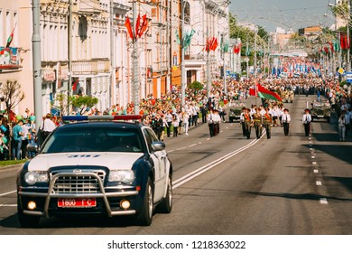 Gomel, Belarus - May 9, 2018: Victory parade the procession along the Soviet street in Gomel. Belarus