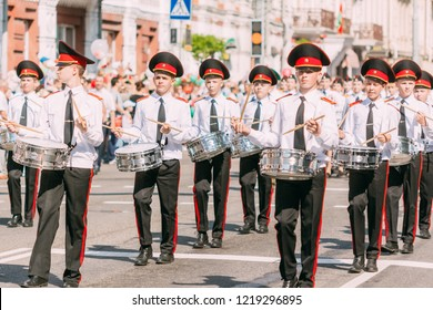 Gomel, Belarus - May 9, 2018: An orchestra of drummers in white shirts at the parade dedicated to the Victory Day in World War II. City Gomel Soviet Street
