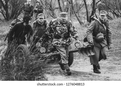 Gomel, Belarus - November 26, 2017: Germany Wehrmacht soldiers artillerist move the gun along a country road. Reconstruction of the battles for the city of Gomel during the Second World War