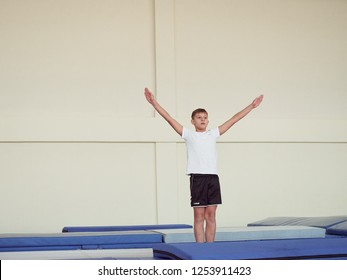 GOMEL, BELARUS - NOVEMBER 30, 2018: surrender of standards for the freestyle sports category for athletes 2005 2008 on the trampoline and treadmill.