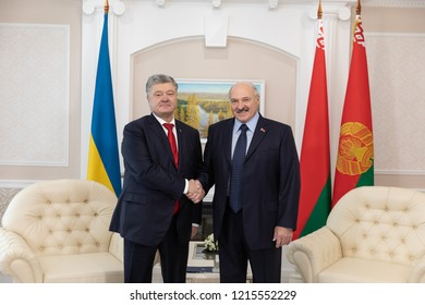 GOMEL, BELARUS - Oct. 26, 2018: President of Ukraine Petro Poroshenko during a meeting with Belarus president Alexander Lukashenko