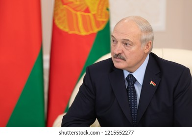 GOMEL, BELARUS - Oct. 26, 2018: President of Belarus Alexander Lukashenko during a meeting with Ukrainian President Poroshenko