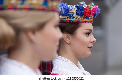 GOMEL, BELARUS - Oct. 26, 2018: Girls in national Belarusian clothes during the First Forum of the Regions of Ukraine and Belarus, in Gomel