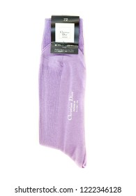 GOMEL, BELARUS - October 21, 2018: Christian Dior socks. Christian Dior SE, commonly known as Dior, is a European luxury goods company.