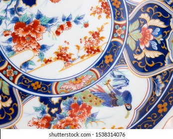 GOMEL, BELARUS - OCTOBER 22, 2019: The Japanese porcelain Imari, Arita (Maruki kiln). Porcelain (also known as china or fine china) is a ceramic material made by heating materials.
