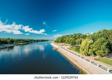 Gomel, Belarus. Sozh River, City Park And Cathedral Of St. Peter And Paul In Summer Sunny Day In Gomel, Belarus.