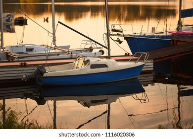 GOMEL, BELARUS. yachts on the dock at dawn.