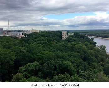 Gomel Palace in the park and Sozh river. Homel, Belarus
