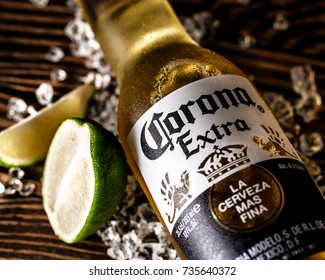 Gomel.Belarus - October 16.2017. Corona Extra is a pale lager produced by Cerveceria Modelo in Mexico for domestic distribution and export to all other countries.