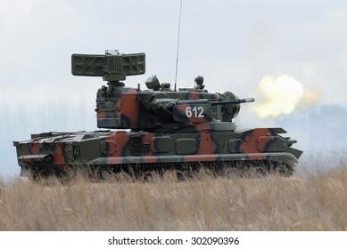 Goncharovsk, Ukraine - 22 March 2012. Antiaircraft gun-missile system 2S6 Tunguska firing