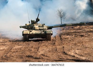 Goncharovsk, Ukraine - February 27, 2008. Main battle tank T-64 Bulat in the attack.