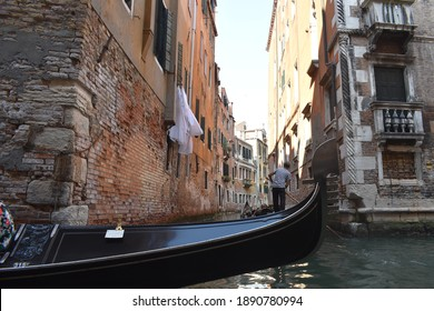 Gondala ride through the canals in Venice, Italy.