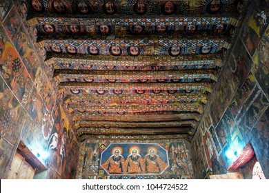 GONDAR, ETHIOPIA - JANUARY 16: Interior painted with frescoes in the Church of Debra Berhan Selassie on January 16, 2018 in Gondar, Ethiopia.
