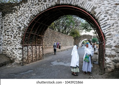 GONDAR, ETHIOPIA - JANUARY 17: Two Ethiopian women talking on a street on January 17, 2018 in Gondar, Ethiopia.